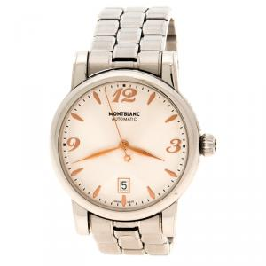 Mont Blanc White Stainless Steel Automatic 7190 Men's Wrist Watch 39 mm