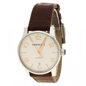 Mont Blanc White Stainless Steel Timewalker Men's Wristwatch 39 mm