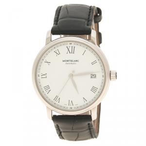 Mont Blanc White Stainless Steel Tradition Men's Wristwatch 36 mm
