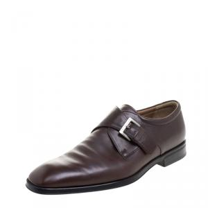 Moreschi Brown Leather Monkstrap Shoes Size 43