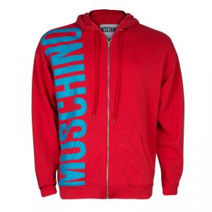 Moschino Men's Red Logo Hooded Jacket M
