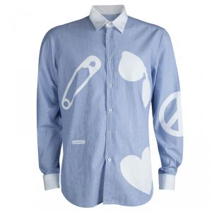 Moschino Blue Striped Cotton Printed Long Sleeve Button Front Shirt XL