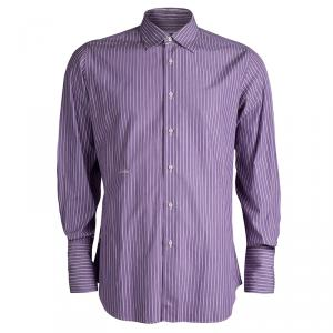 Moschino Purple Striped Long Sleeve Button Front Shirt L