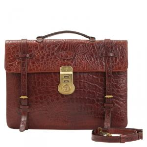 Mulberry Brown Croc Embossed Leather Business Briefcase