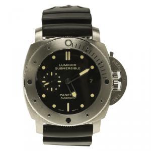 ساعة يد رجالية بانيراي لومينور سبمرسيبل 1950 3 دايز اوتوماتيك PAM00305 تيتانيوم سوداء 47 مم