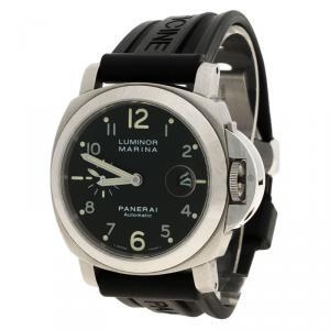 Panerai Black Stainless Steel Firenze 1860 Luminor Marina Men's Wristwatch 44MM