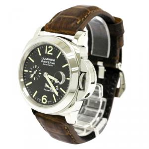 Panerai Black Stainless Steel Luminor Men's Wristwatch 44MM