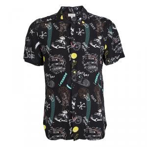Paul & Joe Black Doodle Print Short Sleeve Shirt XL