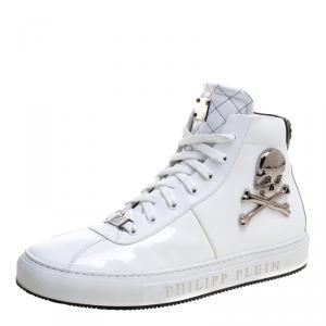 Philipp Plein White Leather Flight High Top Sneakers Size 43