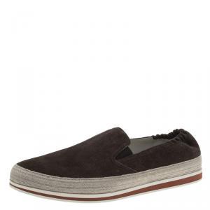 Prada Sport Brown Suede Espadrille Sneakers Size 41.5