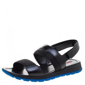 Prada Sport Black Leather Sandals Size 44