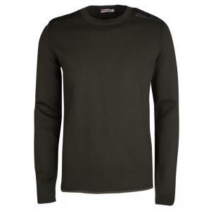 Prada Sport Olive Green Shoulder Patch Detail Sweater XL
