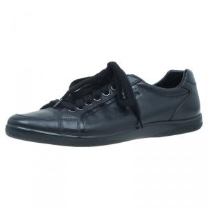 Prada Sport Black Leather Lace up Sneakers Size 41