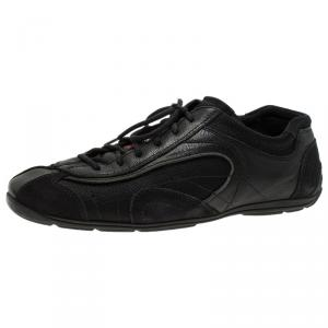 Prada Sport Black Leather and Suede Lace Up Sneakers Size 40.5