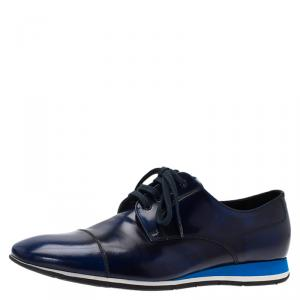 Prada Sport Blue Shaded Leather Lace Up Oxfords Size 43