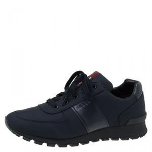 Prada Sport Dark Blue Canvas and Leather Sneakers Size 43