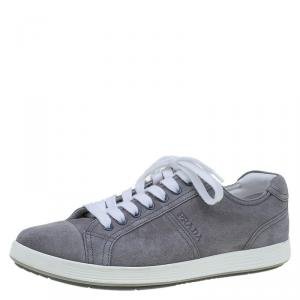 Prada Sport Grey Suede Lace Up Sneakers Size 42