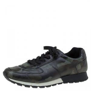 Prada Sport Camo Print Leather Running Sneakers Size 42.5