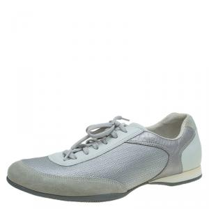 Prada Sport Grey Fabric And Leather Trim Sneakers Size 43.5