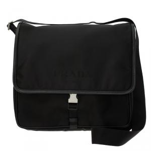 Prada Black Nylon Flap Messenger Bag