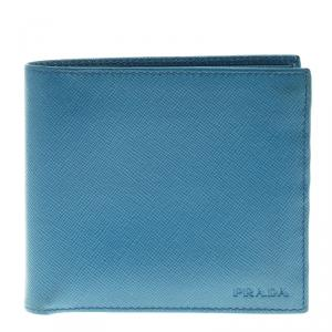 Prada Blue Saffiano Leather Bifold Wallet