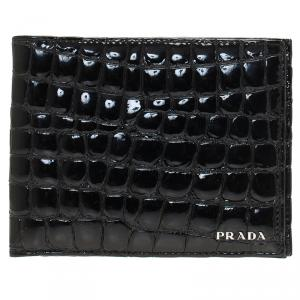 Prada Black Crocodile Embossed Patent Bi-Fold Wallet