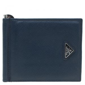 Prada Blue Leather Bi-Fold Wallet