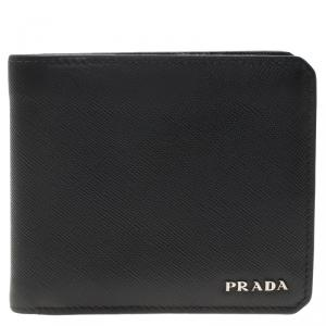 Prada Black Saffiano Leather Bi-Fold Wallet