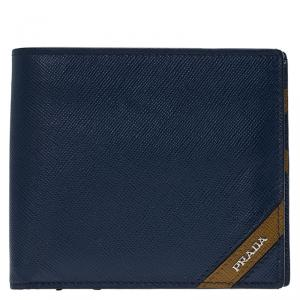 Prada Blue Saffiano Leather Bi Fold Wallet