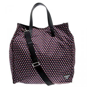 Prada Multicolor Octagon Print Nylon Shopper Tote