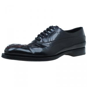 Prada Black Leather Runway Gladiator Oxfords Size 43