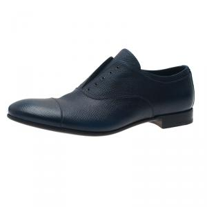 Prada Navy Blue Saffiano Laceless Oxfords Size 44
