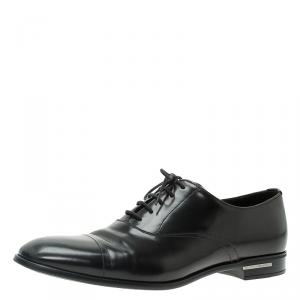 Prada Black Leather Lace Up Oxfords Size 42