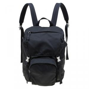 Prada Black Nylon Double Buckle Backpack