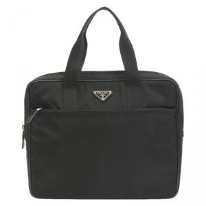 Prada Black Tessuto Nylon Business Briefcase