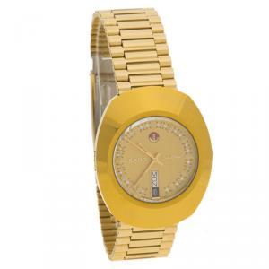 ساعة يد رجالية رادو دايستار ستانلس ستيل ذهبية 35 مم