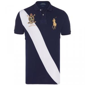 Polo Ralph Lauren Navy Blue/White Stripe Logo Polo Shirt L