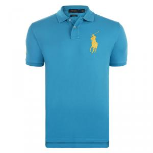 Polo Ralph Lauren Turquoise/Yellow Logo Polo Shirt M