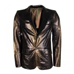 Roberto Cavalli SS'08 Metallic Snakeskin Karung Leather Jacket L