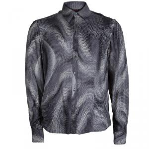 Roberto Cavalli Grey Button Front Silk Shirt M