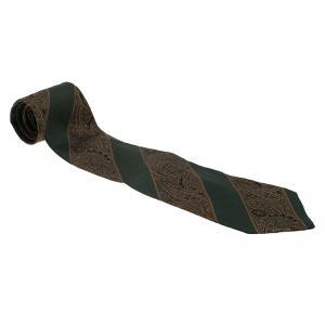 Saint Laurent Paris Green and Brown Embroidered Silk Tie