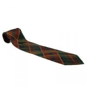 Saint Laurent Paris Multicolor Checked Silk Tie