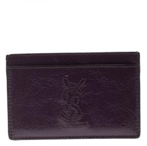 Saint Laurent Paris Purple Patent Leather Card Holder
