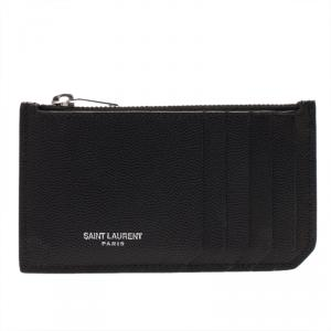 Saint Laurent Paris Black Zipped Leather Card Holder
