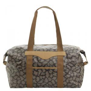 Saint Laurent Paris Grey/Brown Coated Canvas Duffel Bag