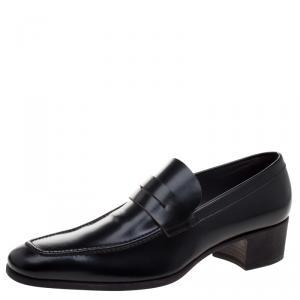Saint Laurent Paris Black Leather Penny Loafers Size 44