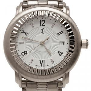 Saint Laurent Paris White Stainless Steel Herrenuhr Men's Wristwatch 36MM