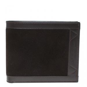 Salvatore Ferragamo Brown Leather and Suede Bi-Fold Wallet