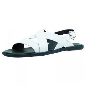 Salvatore Ferragamo White Leather Strap Sandals Size 44