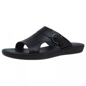 Salvatore Ferragamo Brown Leather Buckle Embellished Slip-On Sandals Size 43